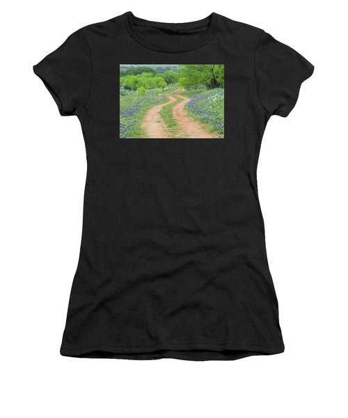 A Dirt Road Lined By Blue Bonnets Of Texas Women's T-Shirt