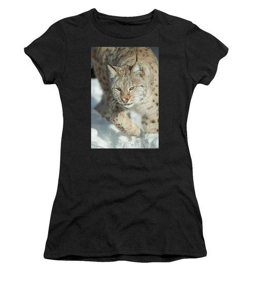 A Eurasian Lynx In Snow Women's T-Shirt (Athletic Fit)