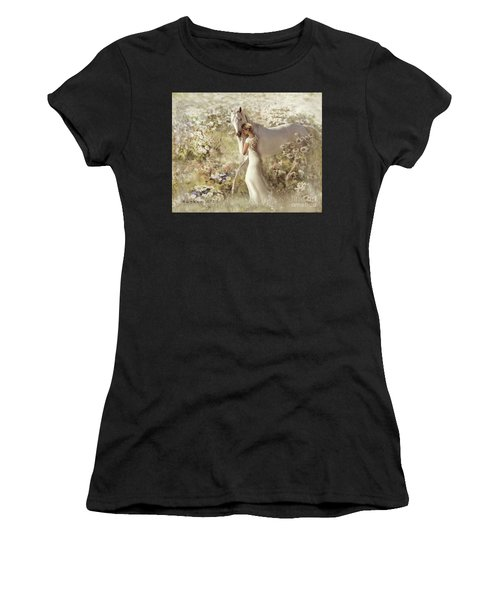 Women's T-Shirt (Athletic Fit) featuring the digital art A Gentle Touch by Melinda Hughes-Berland