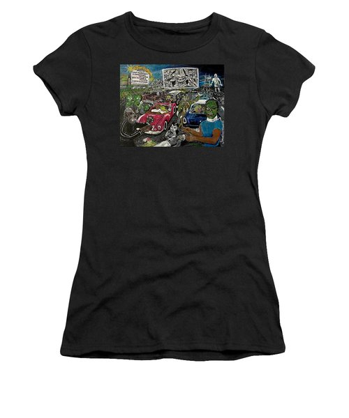 A I P Monster Movie Marathon At The Twilight Drive - In  La Porte Indiana Women's T-Shirt (Athletic Fit)