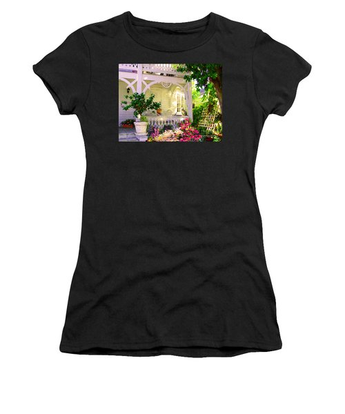Women's T-Shirt (Junior Cut) featuring the painting A Key West Porch by David  Van Hulst