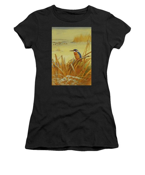 A Kingfisher Amongst Reeds In Winter Women's T-Shirt (Athletic Fit)