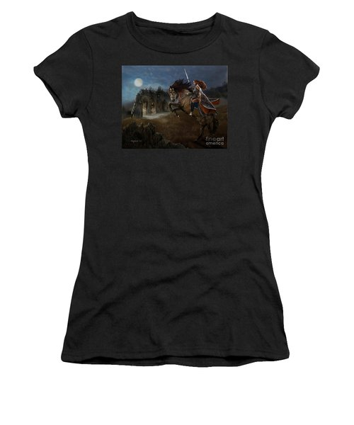Women's T-Shirt (Athletic Fit) featuring the digital art A Knight's Lady by Melinda Hughes-Berland