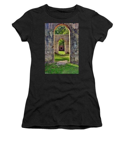 A Look Through Chapel Of Ease St. Helena Island Beaufort Sc Women's T-Shirt