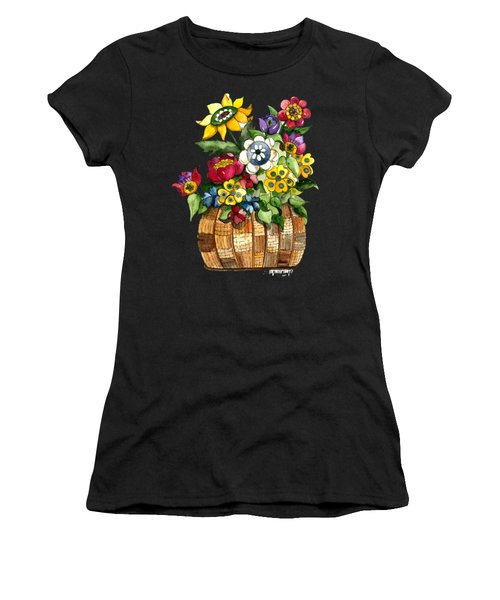 A Lovely Basket Of Flowers Women's T-Shirt (Athletic Fit)