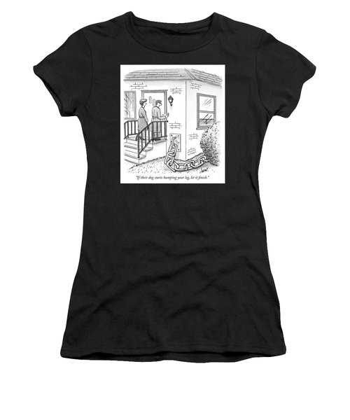 A Man And Woman Ring The Bell Of A House Women's T-Shirt
