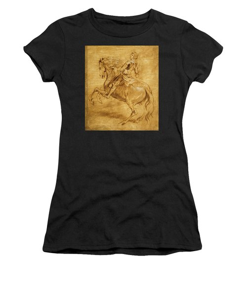 A Man Riding A Horse Women's T-Shirt (Junior Cut) by Anthony van Dyck