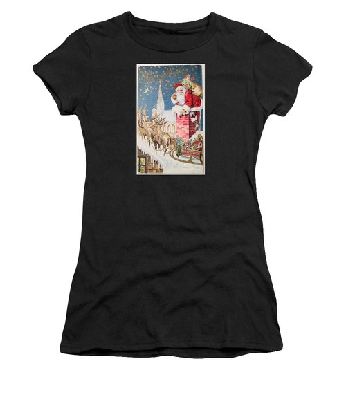 A Merry Christmas Vintage Greetings From Santa Claus And His Raindeer Women's T-Shirt