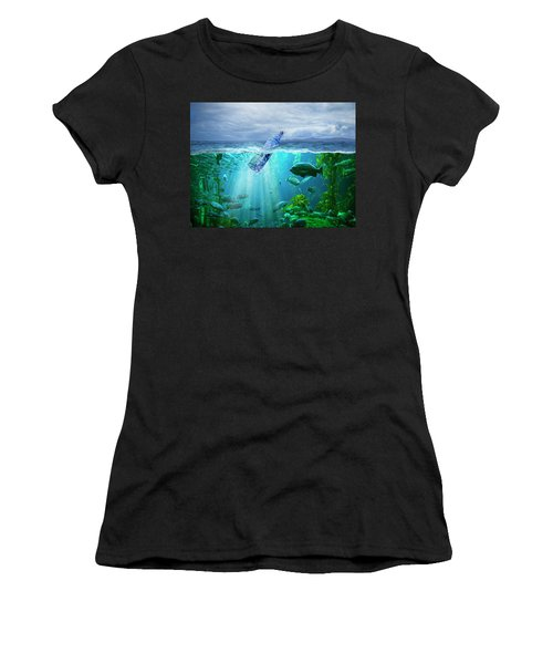 A Message In A Bottle Women's T-Shirt (Athletic Fit)