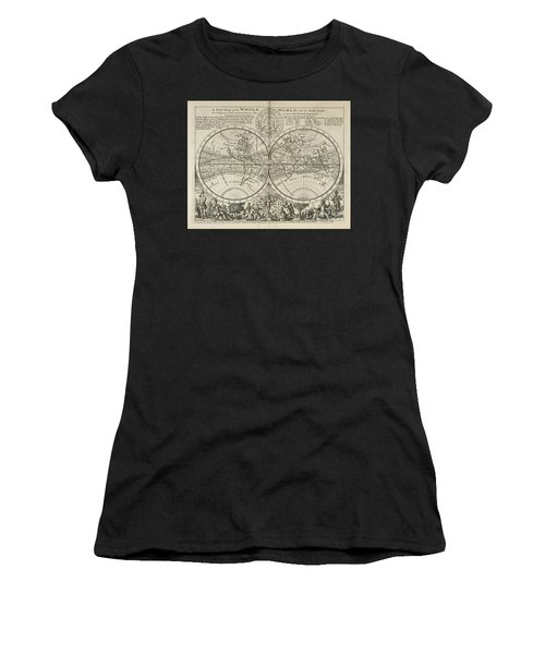 A New Map Of The Whole World With Trade Winds Herman Moll 1732 Women's T-Shirt