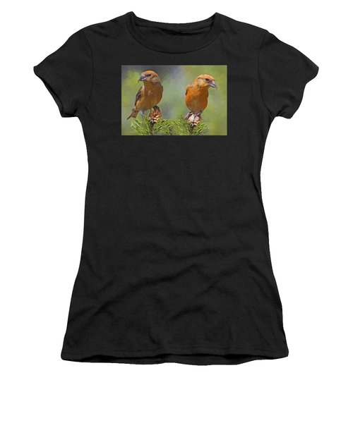 A Pair Of Male Red Crossbills - Painted Women's T-Shirt (Athletic Fit)