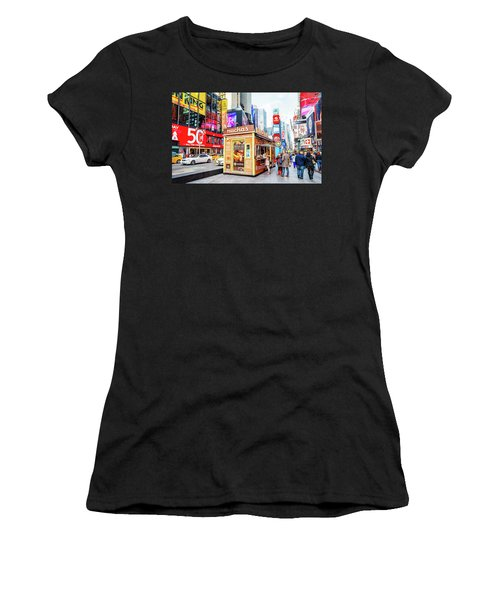 A Portable Food Stand In New York Times Square Women's T-Shirt