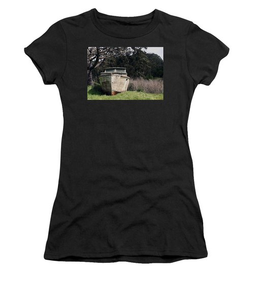 A Retired Old Fishing Boat On Dry Land In Bodega Bay Women's T-Shirt