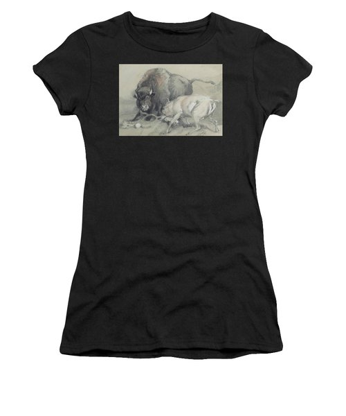 A Stag Challenging A Bison Women's T-Shirt
