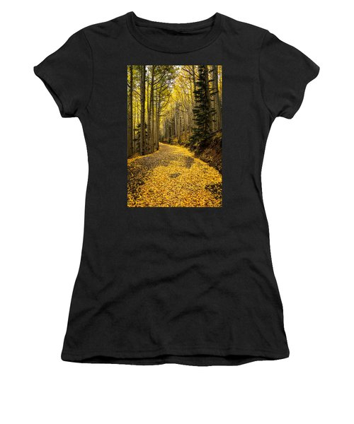 A Stroll Among The Golden Aspens  Women's T-Shirt (Athletic Fit)