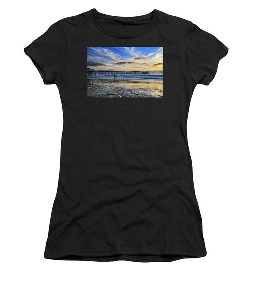 A Surfer Heads Home Under A Cloudy Sunset At Crystal Pier Women's T-Shirt