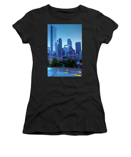 A View Of Millenium Park From The Amoco Bridge In Chicago At Dus Women's T-Shirt