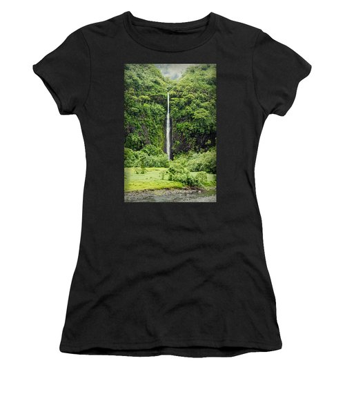 A Waterfall In Tahiti Women's T-Shirt (Athletic Fit)