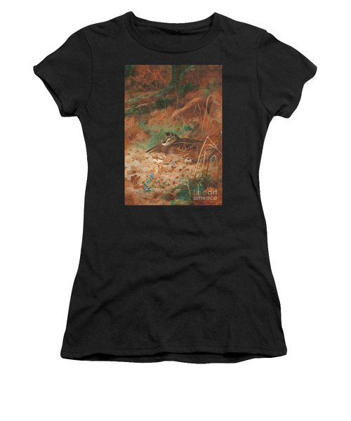 A Woodcock And Chick In Undergrowth Women's T-Shirt