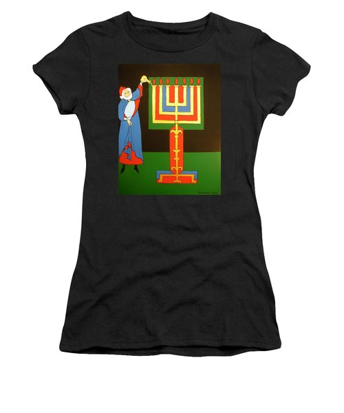 Women's T-Shirt (Junior Cut) featuring the painting Aaron Lighting The Menorah by Stephanie Moore