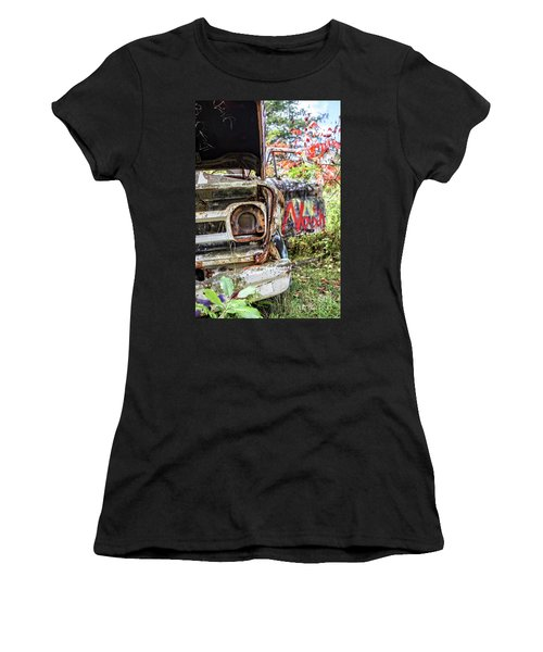 Women's T-Shirt (Athletic Fit) featuring the photograph Abandoned Truck With Spray Paint by Edward Fielding