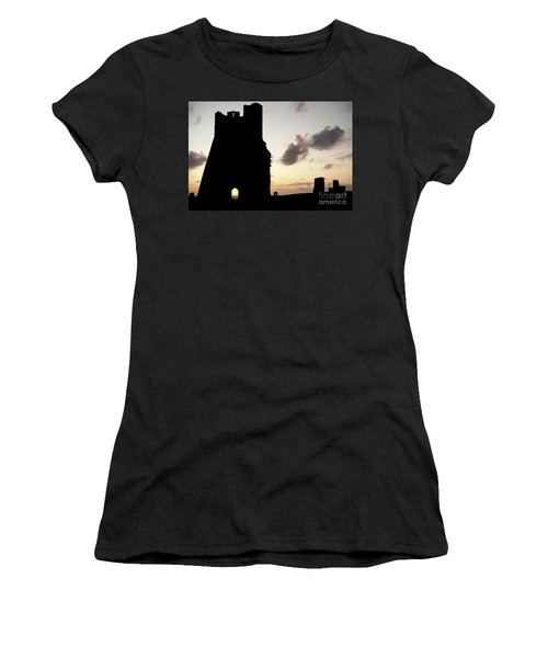 Aberystwyth Castle Tower Ruins At Sunset, Wales Uk Women's T-Shirt