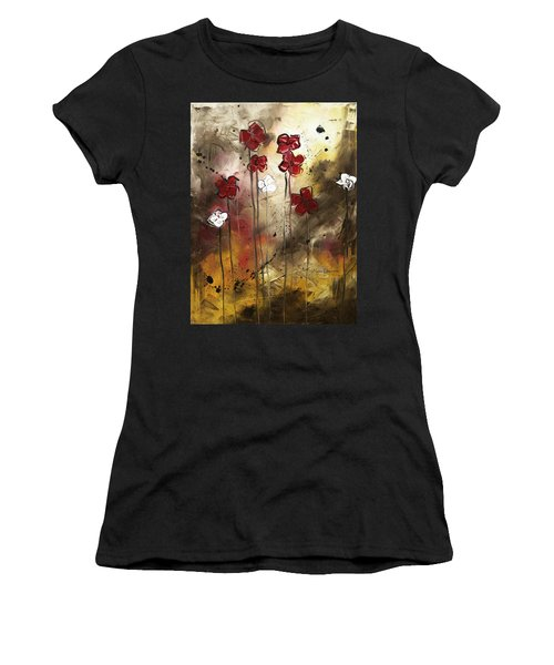 Abstract Art Original Flower Painting Floral Arrangement By Madart Women's T-Shirt