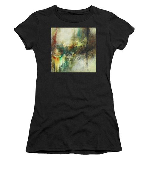 Abstract Art With Blue Green And Warm Tones Women's T-Shirt (Athletic Fit)