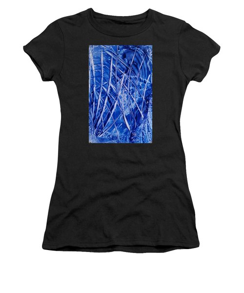 Abstract Blues Encaustic Women's T-Shirt