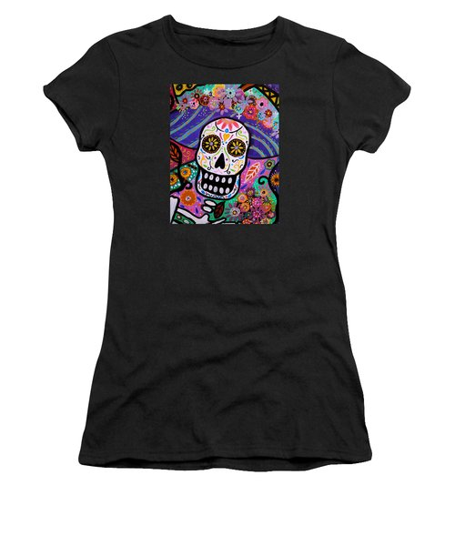 Women's T-Shirt (Junior Cut) featuring the painting Abstract Catrina by Pristine Cartera Turkus