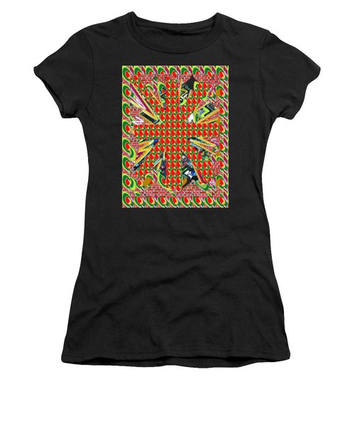 Abstract Flowers Floral Leaf Leaves Colorful Modern Art Navinjoshi Fineartamerica Pixels Women's T-Shirt (Athletic Fit)