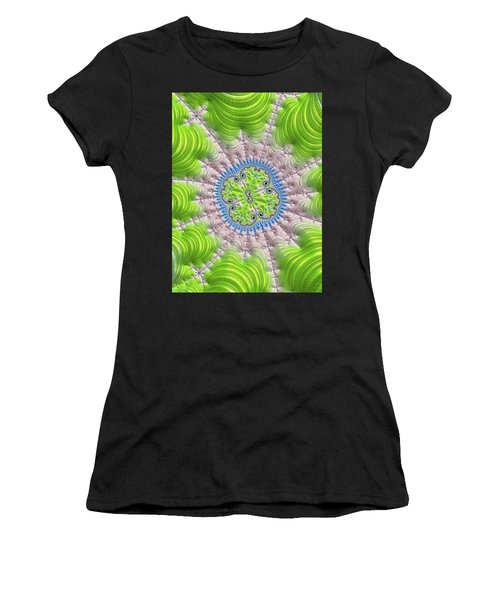 Women's T-Shirt (Athletic Fit) featuring the digital art Abstract Fractal Art Greenery Rose Quartz Serenity by Matthias Hauser
