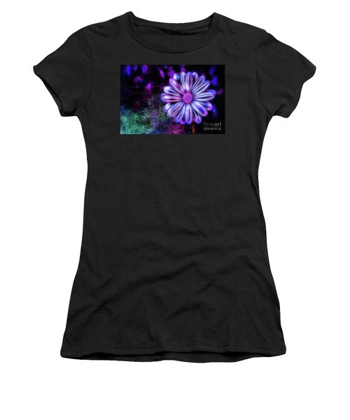 Abstract Glowing Purple And Blue Flower Women's T-Shirt (Athletic Fit)