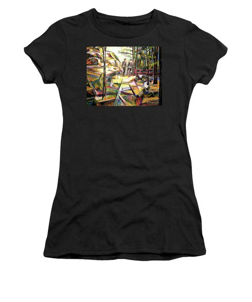 Women's T-Shirt (Junior Cut) featuring the drawing Abstract Landscape With People by Stan Esson