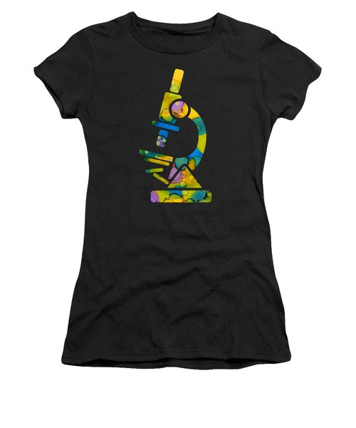 Women's T-Shirt (Junior Cut) featuring the painting Abstract Microscope Party by Nikki Marie Smith