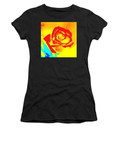 Single Orange Rose Abstract Women's T-Shirt