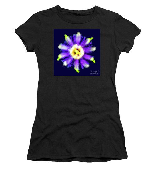 Abstract Passion Flower In Violet Blue And Green 002b Women's T-Shirt