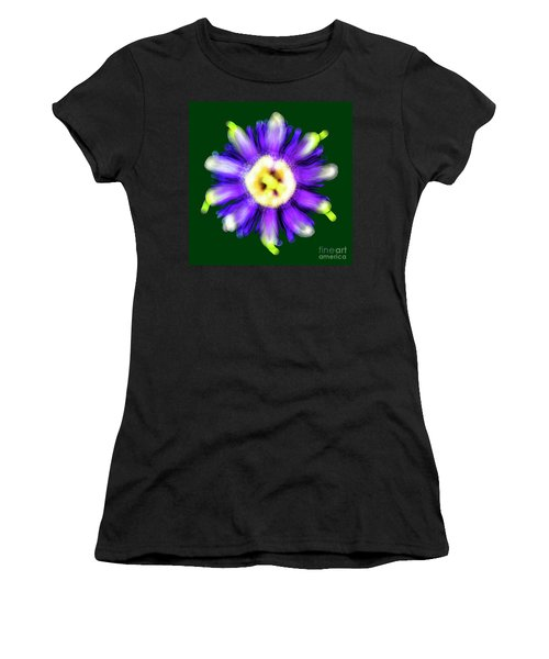 Abstract Passion Flower In Violet Blue And Green 002g Women's T-Shirt