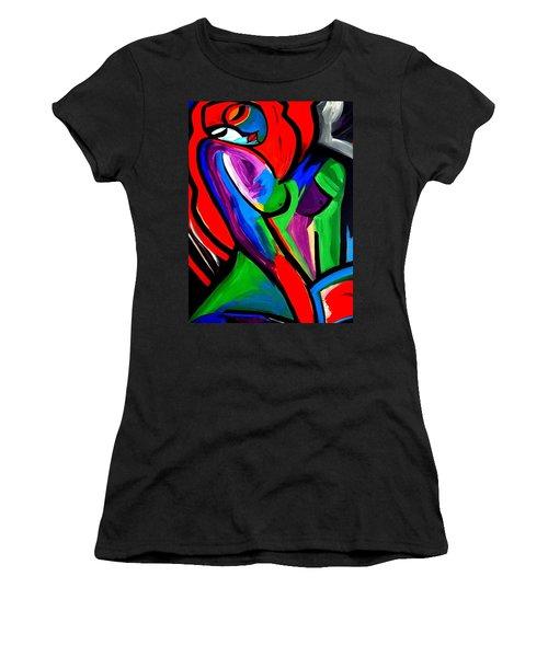 Abstract  Rain Bow Girl Women's T-Shirt (Junior Cut) by Nora Shepley