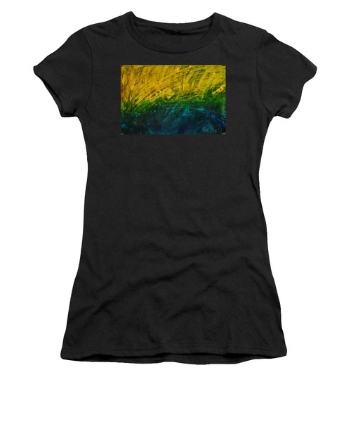 Abstract Yellow, Green With Dark Blue.   Women's T-Shirt