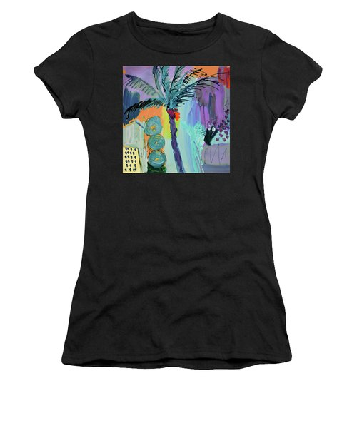 Abtract, Landscape With Palm Tree In California Women's T-Shirt (Athletic Fit)