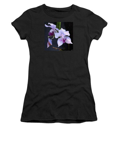 Women's T-Shirt (Junior Cut) featuring the digital art Acacallis Cyanea. Orchid by Anthony Fishburne