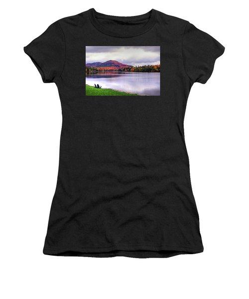 Adirondack Chairs In The Adirondacks. Mirror Lake Lake Placid Ny New York Mountain Women's T-Shirt