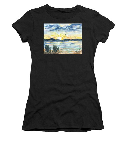 Women's T-Shirt featuring the painting Adirondack Chairs With A View by Reed Novotny