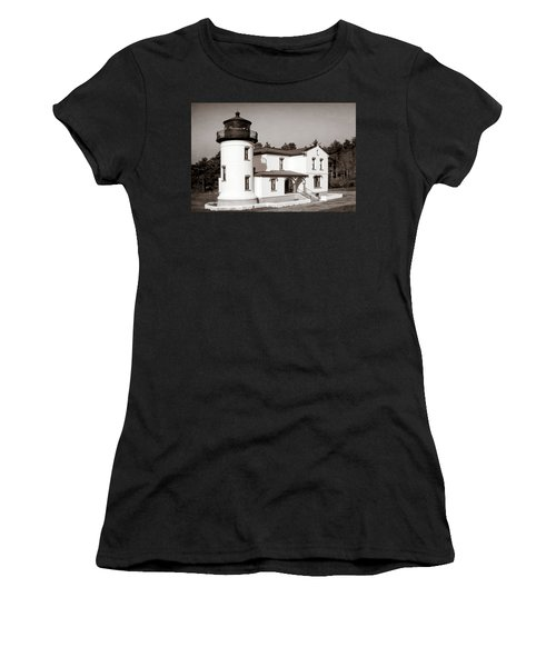 Admiralty Head Lighthouse Vintage Photograph Women's T-Shirt (Athletic Fit)