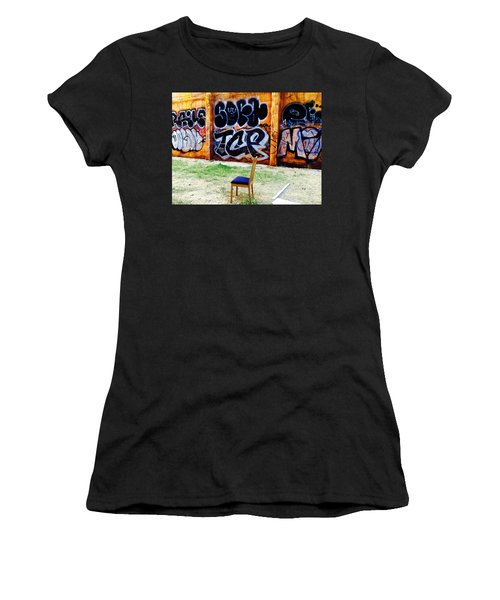 Admiring Barcelona Graffiti Wall Women's T-Shirt (Junior Cut) by Funkpix Photo Hunter
