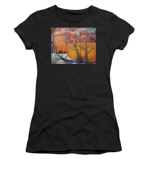 Adobe, Shadows And A Blue Window Women's T-Shirt (Athletic Fit)