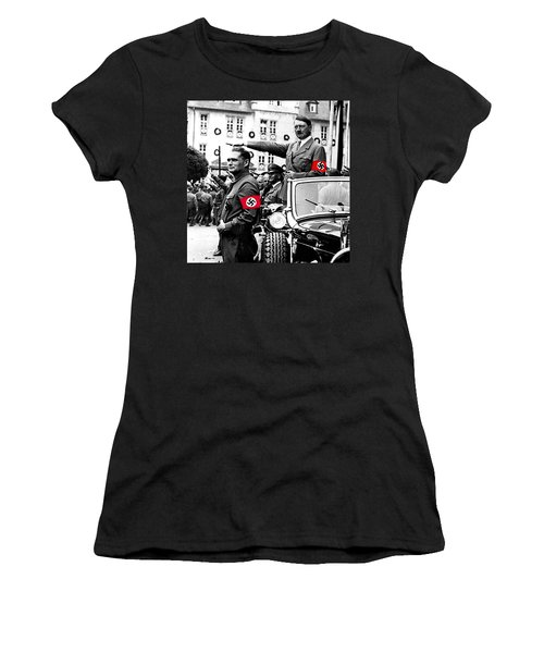 Adolf Hitler Giving The Nazi Salute From A Mercedes #3 C. 1934-2015 Women's T-Shirt (Athletic Fit)