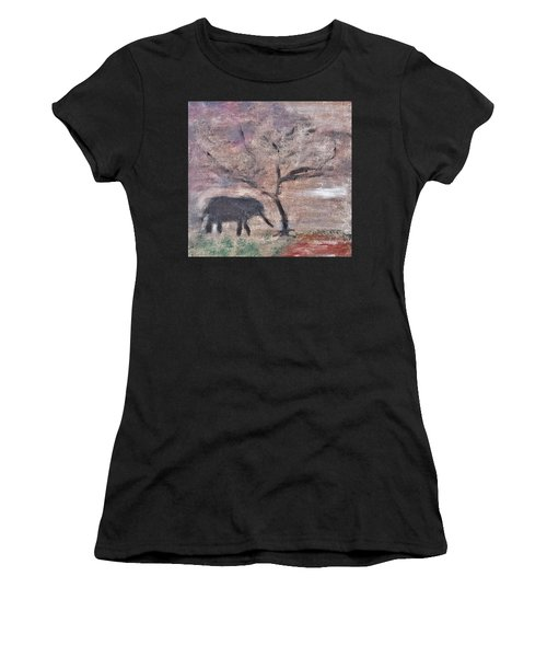 African Landscape Baby Elephant And Banya Tree At Watering Hole With Mountain And Sunset Grasses Shr Women's T-Shirt (Athletic Fit)