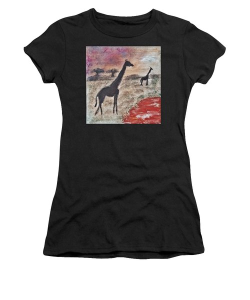 African Landscape Giraffe And Banya Tree At Watering Hole With Mountain And Sunset Grasses Shrubs Sa Women's T-Shirt (Athletic Fit)